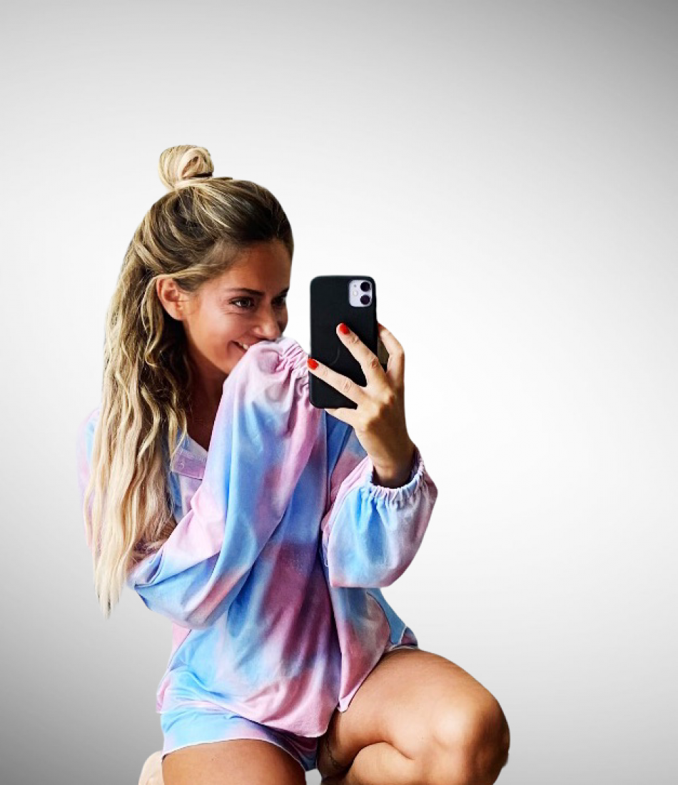 TIE-DYE 2 PIECE LOUNGE SET IN PINK & BLUE