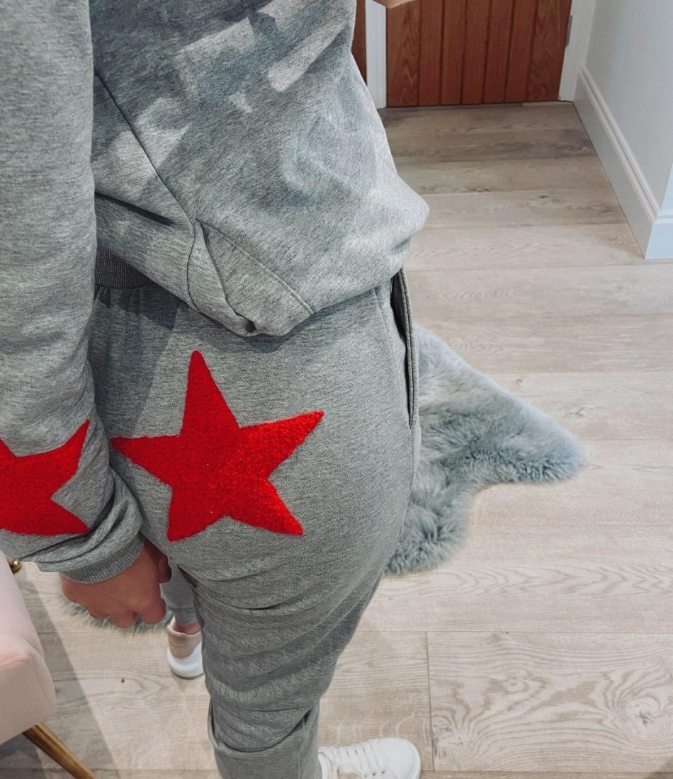 XSTARA LOUNGE PANTS IN GREY & RED