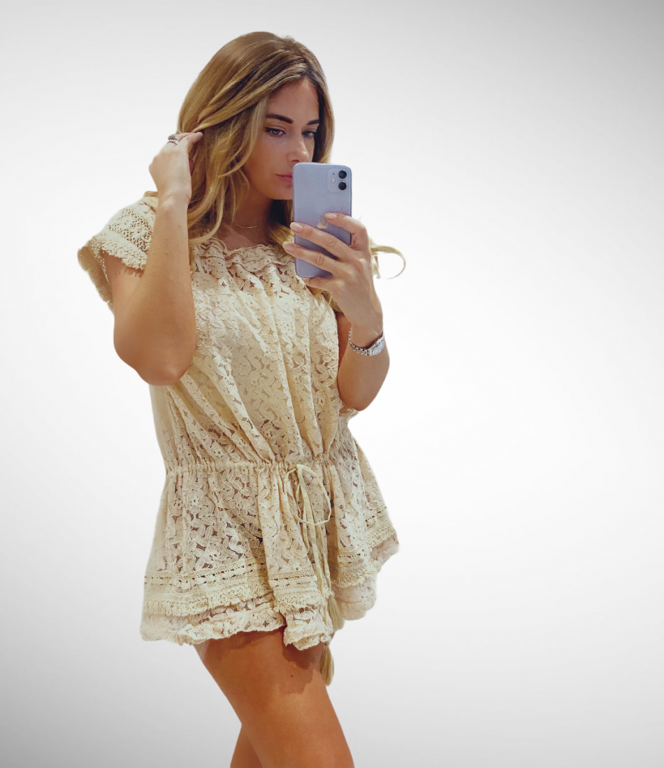 GRACE LACE BEACH MINI DRESS
